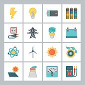 Set of industry power icons in flat design style.
