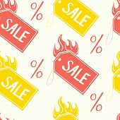 Vector pattern of color sale tags and percentage.