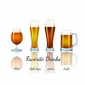 foto of bitters  - Favorite Beer Set isolated - JPG