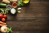 pic of gourmet food  - Vegetables on old wooden background overhead close up shoot - JPG