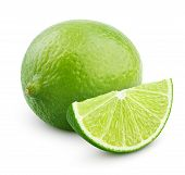 Citrus Lime Fruit With Slice Isolated On White