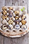 Raw quail eggs on wooden background