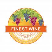 Premium Quality; Finest Wine rubber stamp with grapes