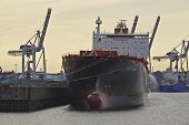 Hamburg - Container Vessel With Contre-jour