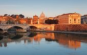 Rome With River Tevere At Sunrise