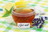 Get well card with cup of tea, lavender and lemon
