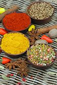 Selection of Indian spices and fresh chilies, close up