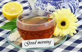 Good morning card with cup of tea and cream gerbera daisy