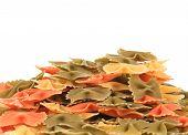Heap of italian pasta farfalle.