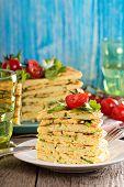 Zucchini savory layered cake