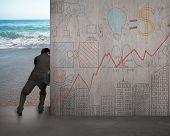 Businessman Push Doodles Concrete Wall Away