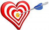 Arrow hits heart target bulls eye as love Valentine or targeted marketing symbol