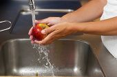 Female Hands Washing Apple With Water In Sink