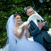 Russian wedding couple releases doves in a park to celebrate their marriage