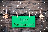 Label With Frohe Weihnachten, Snowy Background