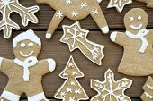 Closeup Of Gingerbread Cookies On Wood