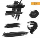 art sketched stylized ink doodle alphabet in vector, black grungy font, sign point, semicolon and co