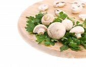 Champignons and parsley on wooden platter.