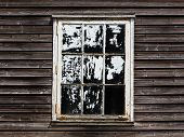 Old Window With Curtain Of A Wooden House