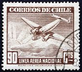 Postage Stamp Chile 1941 Plane And Sunrise