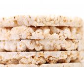 Closeup of puffed rice snacks.