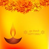 Vector diwali diya background decorative with flowers (Translation Happy Diwali)