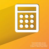 calculator. Flat modern web button with long shadow and space for your text.