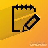 Notepad paper Documents. Flat modern web button with long shadow and space for your text.