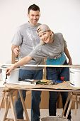 Happy casual, caucasian couple busy renovating painting new home.