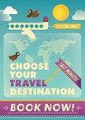 Travel advertising poster design. Vector illustration.