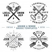 Vector vintage union and work badges. Easy to edit. All pieces are separated.