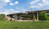 stock photo of trestle bridge  - Construction of the bridge by prestressed concrete method in Moscow region Russia - JPG