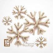 Abstract Clay Christmas Snowflakes.