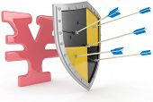 Security shield protects money, Japanese yen financial security