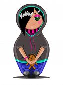 foto of emo  - Emo teen girl made in the style of Russian dolls - JPG