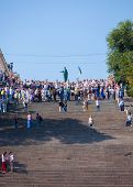 ODESSA, UKRAINE - August 23: Flash mob in  city of Odessa on Potemkin Stairs on August 23, 2014, in