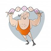 funny cartoon strong man with genetic string