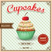 foto of cupcakes  - Sweet food dessert delicious cupcake on cafe retro poster on squared background vector illustration - JPG