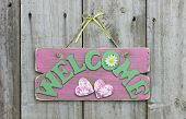 Rustic pink welcome sign with daisies and hearts hanging on wooden door