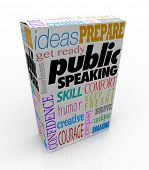 Public Speaking words on a box for training to give a big speech, including ideas, get ready, prepar