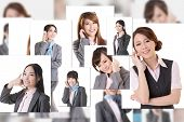 Business people wall with woman talk on phone. Concept about communication, social media, network et