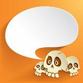 Halloween skull with speech bubble