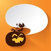 Halloween pumpkin with speech bubble
