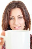 Beauty With Cup Of Coffee Or Tea In Big Mug