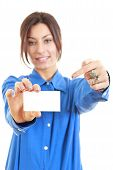 Woman Showing And Pointing At Blank Business Card Sign
