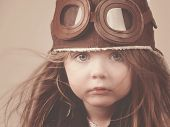 Little Pilot Girl With Hat
