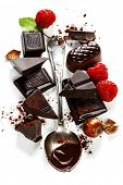 An assortment of  chocolate on white background