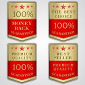 Vector golden badge label set with premium quality and best seller text