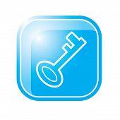 Key Icon On Blue