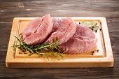 Fresh raw pork on cutting board
